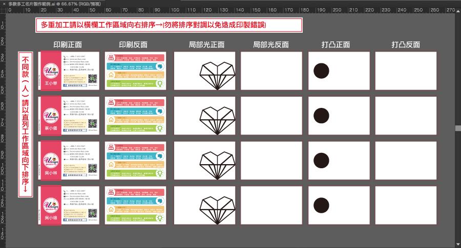 加工名片排法製稿方式範例